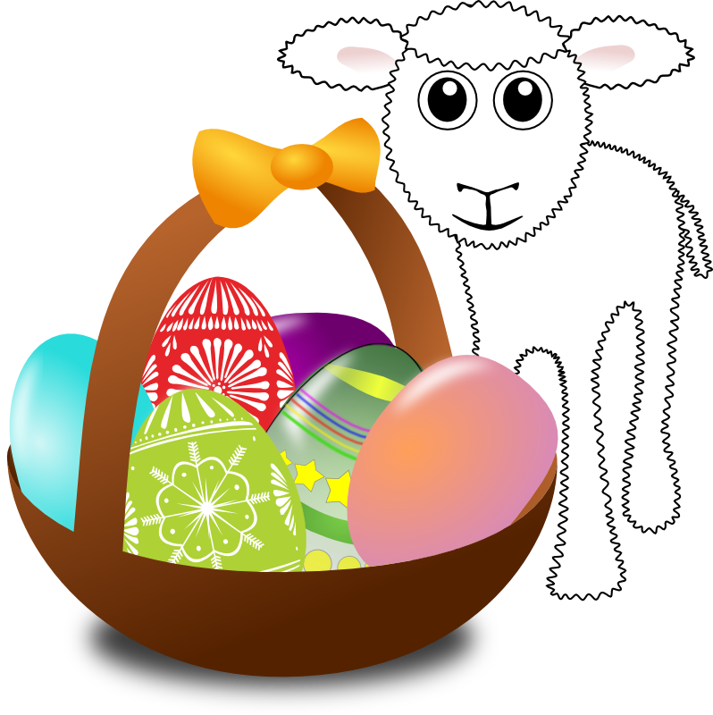 Lamb clipart easter. Funny with eggs in