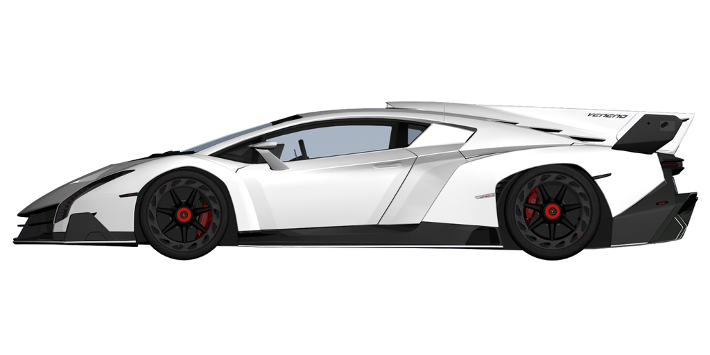 Lambo transparent side view. White lamborghini veneno by