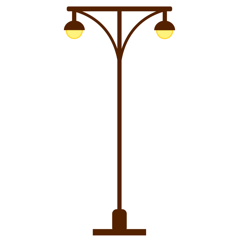 Lamp clipart outdoor lamp. Street post light two