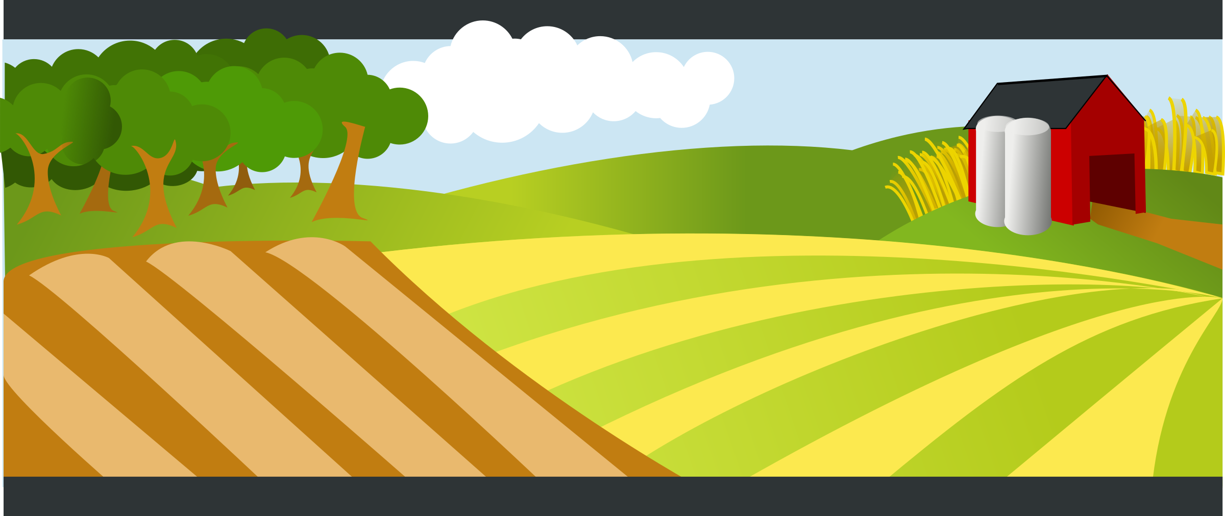 Land clipart big hill. Landscape with red farm