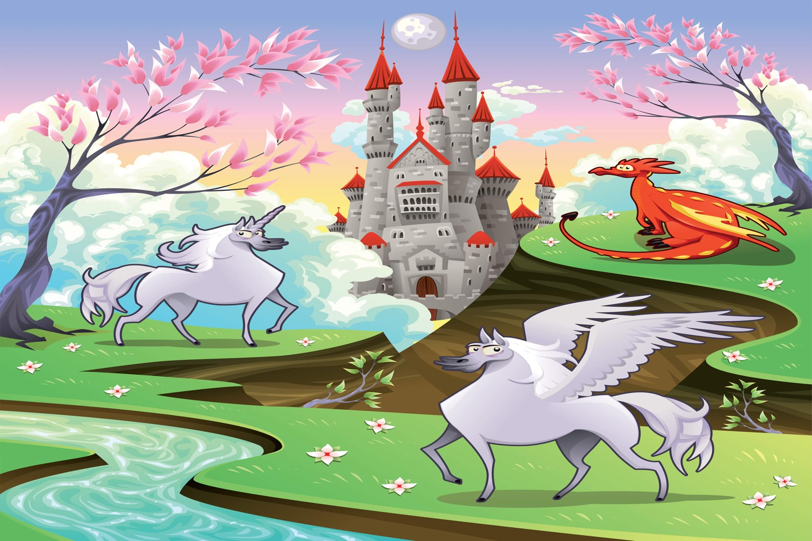 Land clipart magical. Fairytale castle mural wallpaper