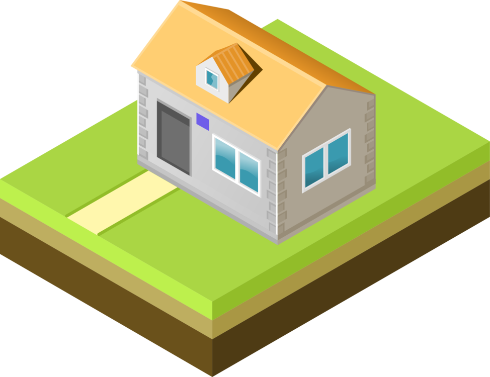 Land vector isometric. House projection drawing exercise