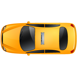 Land vector top view. Taxi yellow icon transporter