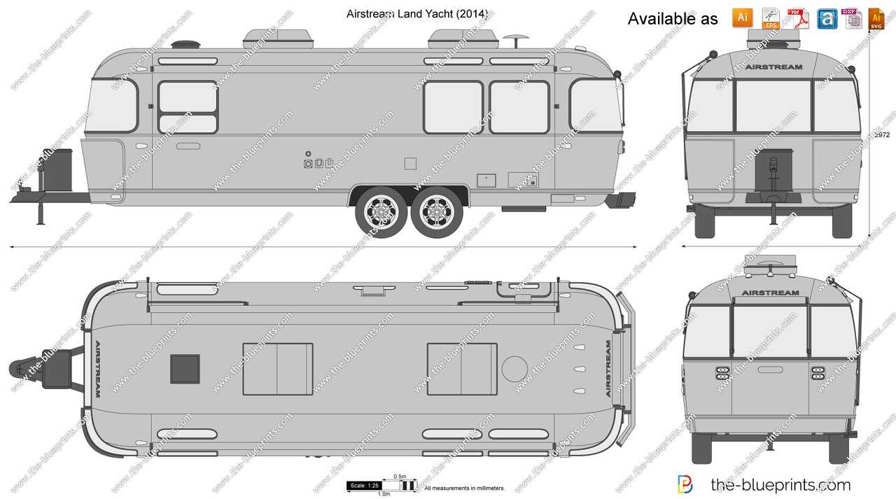 Land yacht. Airstream vector drawing