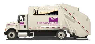 Landfill drawing semi truck. Choiceone disposal residentical services