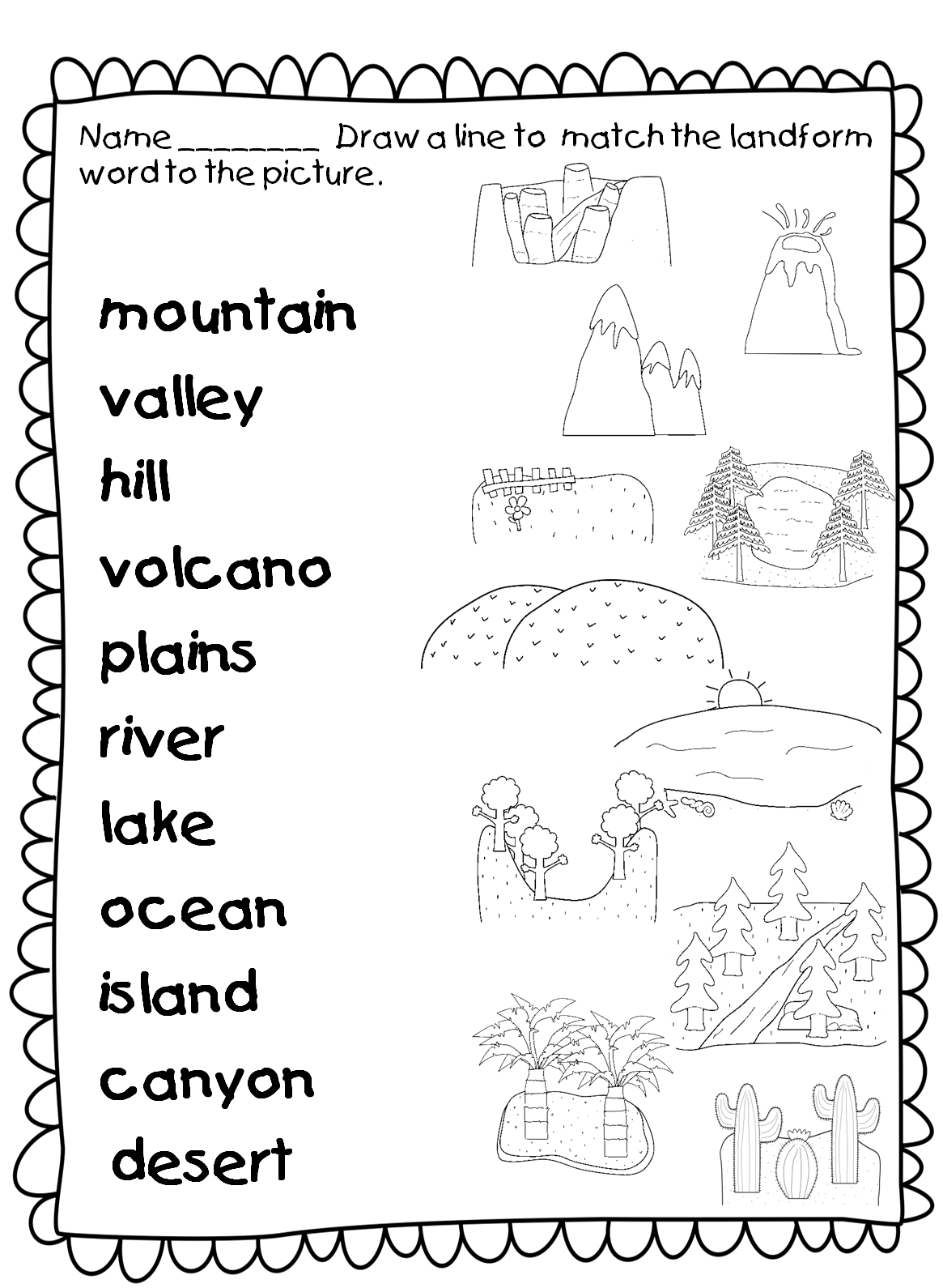 Free printables homeschool giveaways. Landforms drawing river picture royalty free library