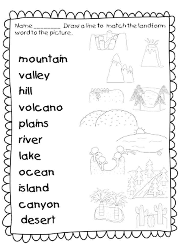 for kids activities. Landforms drawing river jpg black and white download