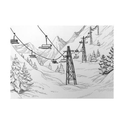 Panorama drawing pencil. Mountain ski lift chairs