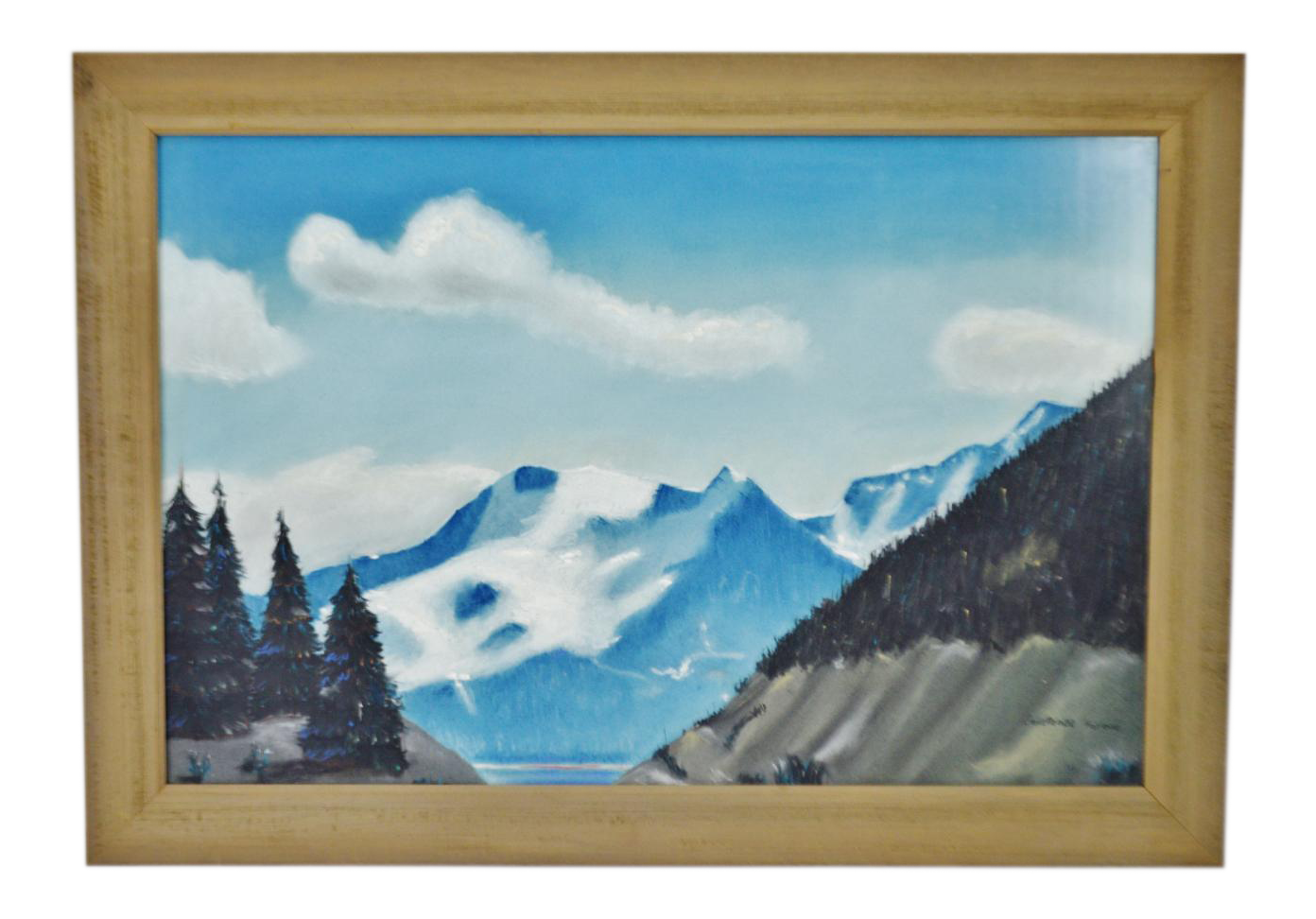 Landforms drawing realistic. Vintage rustic framed mountain