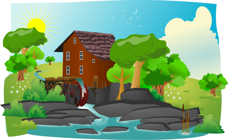 Vector nature countryside. Free landscape clip art
