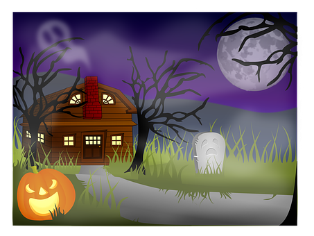Haunted house spooky halloween. Zoo clipart landscape banner library stock