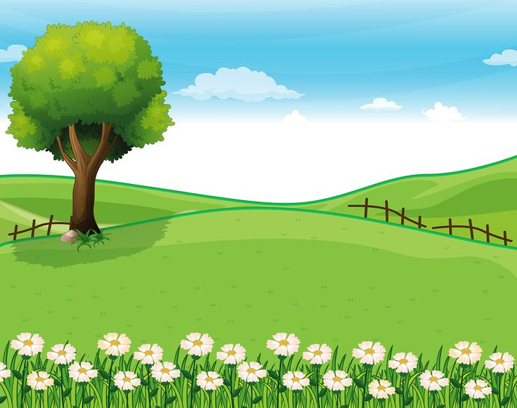 best cartoon landscape. Nature clipart garden library