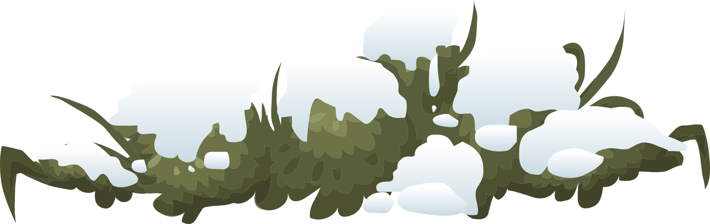 Bush clipart landscape. Shrub snow winter tree