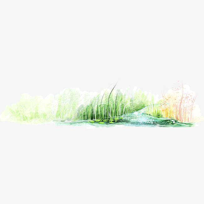 Landscaping clipart pond grass. Rural hand painted landscape
