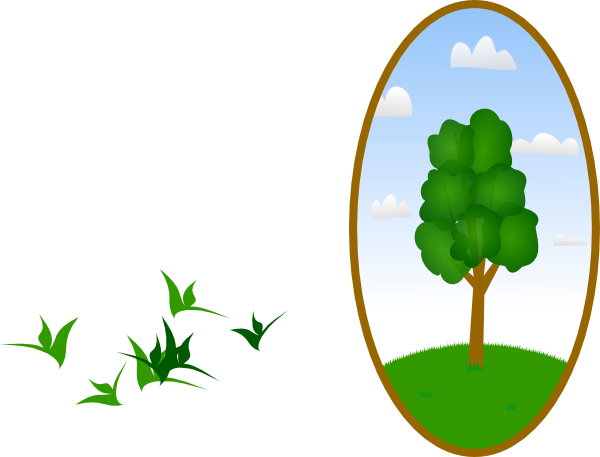 Landscaping clipart vector. Oval tree landscape clip