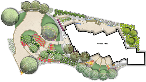 Landscaping drawing patio. Landscape design ideas residential