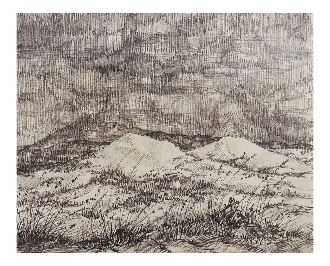 Landscaping drawing black and white. Simon michael evening landscape