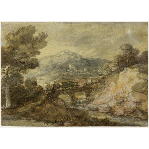 Landscaping drawing bridge. Thomas gainsborough landscape with