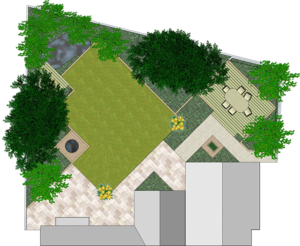 Landscaping drawing patio. Landscape plans symbols drawings