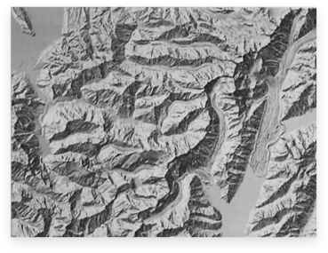 Relief drawing landscape. Shaded archive mount cook
