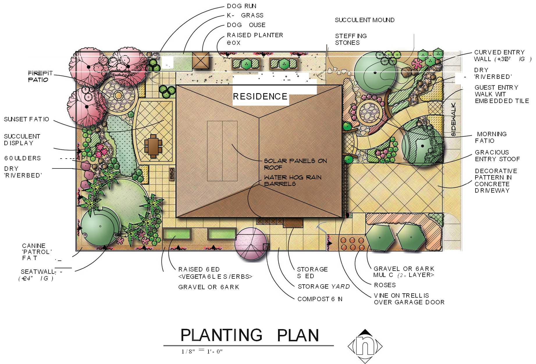 Landscaping drawing map. Landscape design templates san