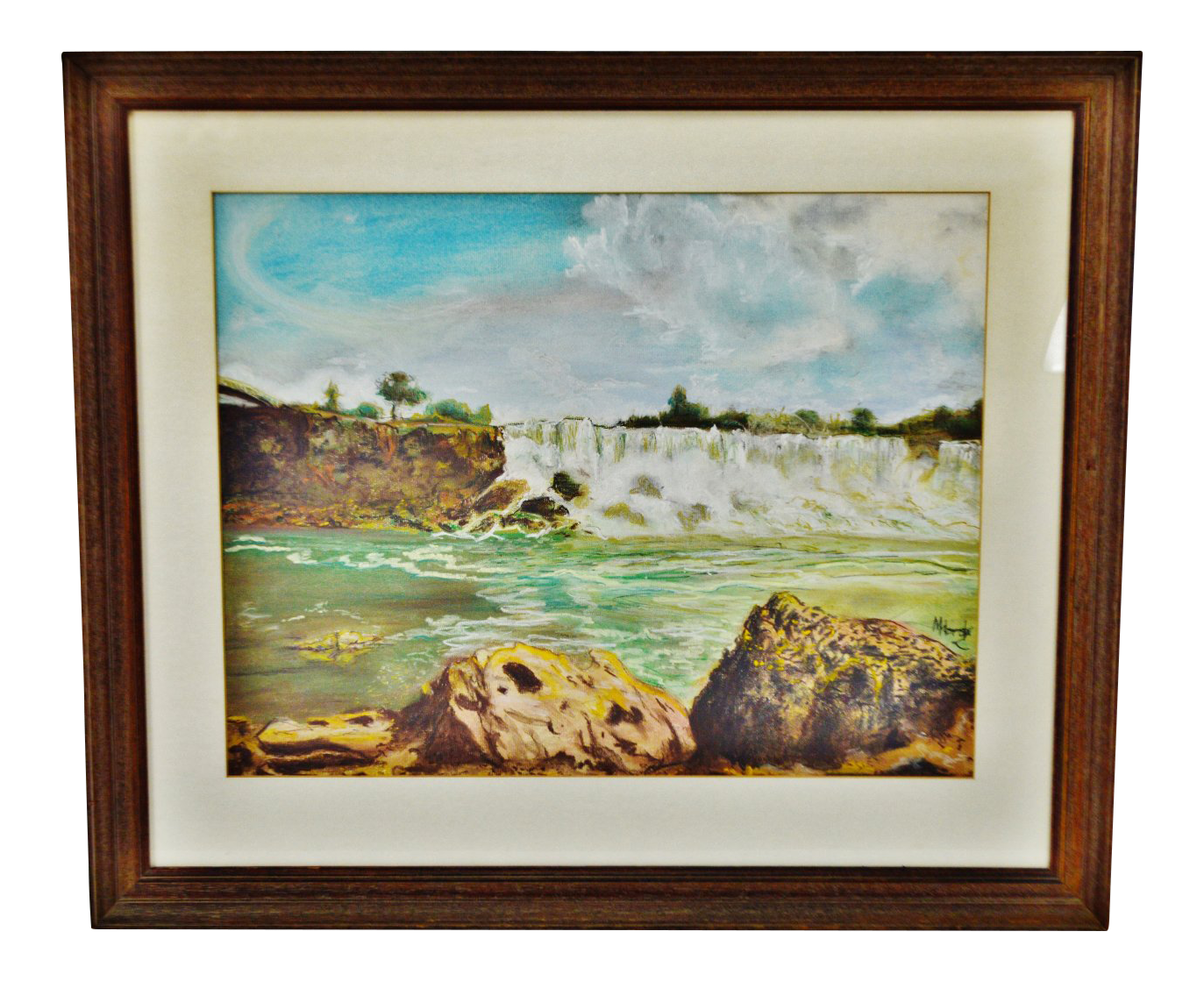 Waterfalls drawing pencil. Vintage framed waterfall landscape
