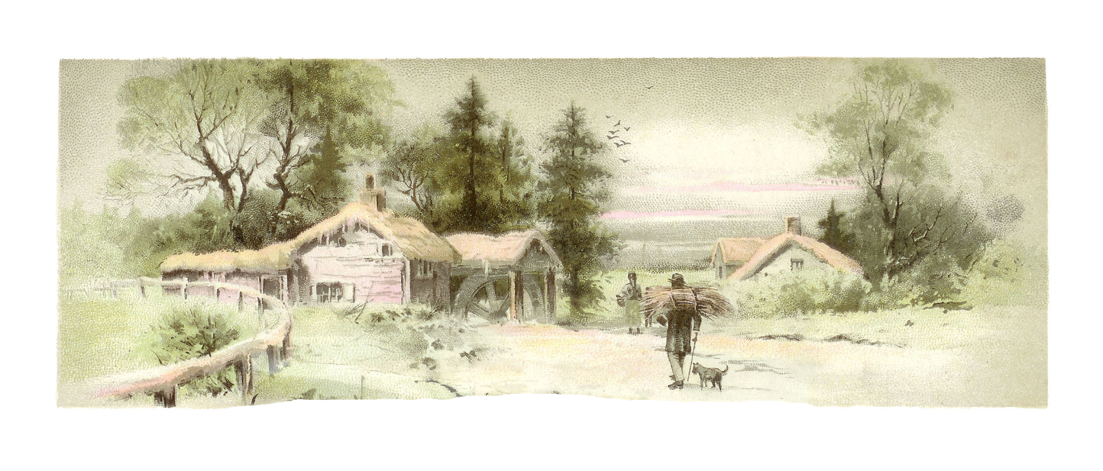 Landscaping drawing vintage. Antique images free countryside