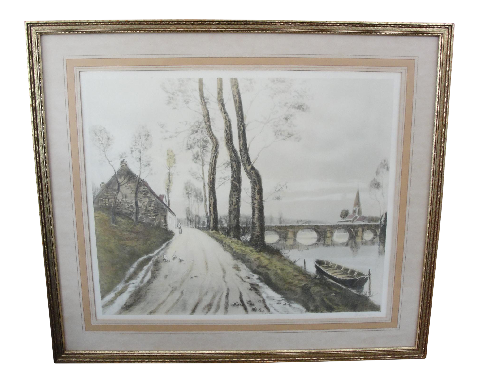 Landscaping drawing vintage. Color etching english road