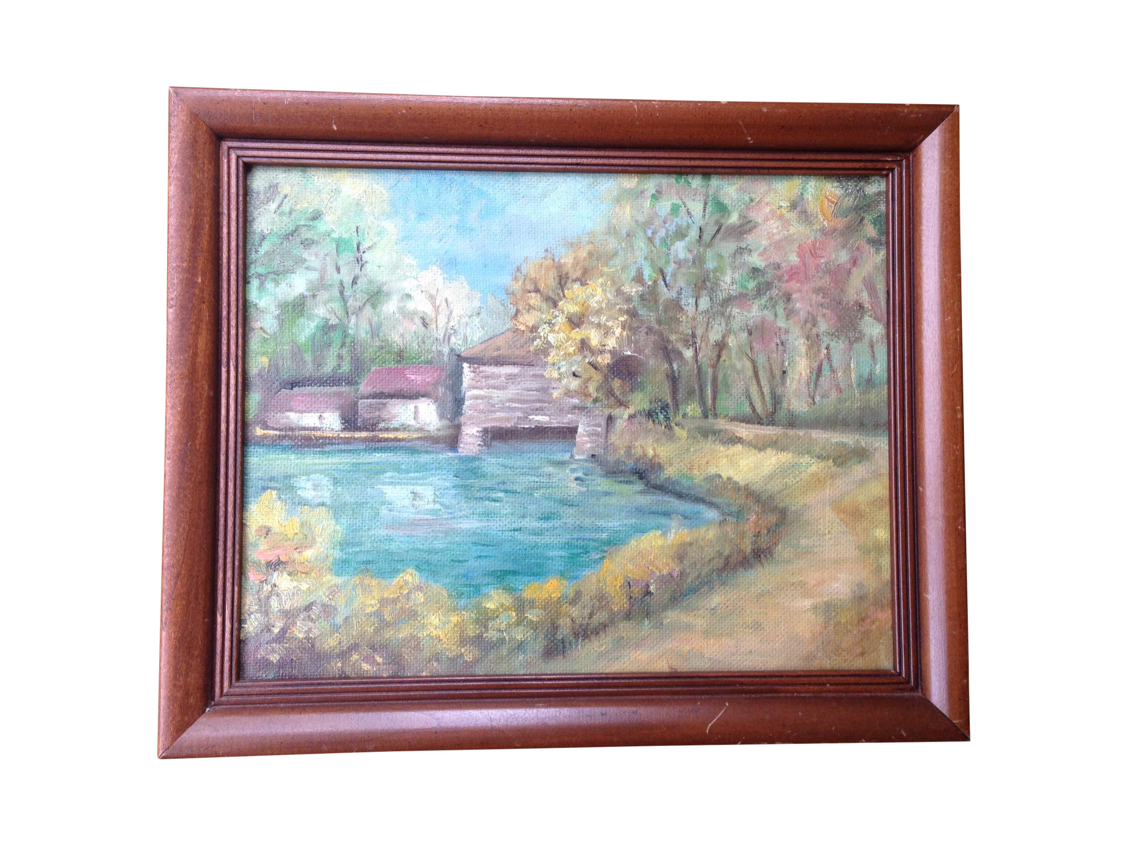 Landscaping drawing vintage. Country landscape oil painting