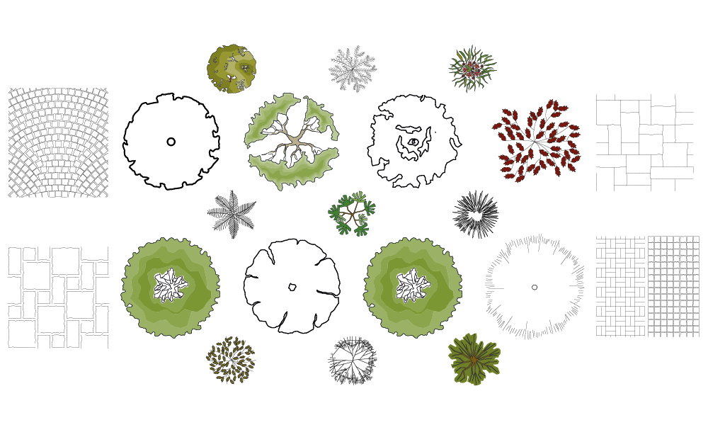 Landscaping drawing. Free landscape symbols for