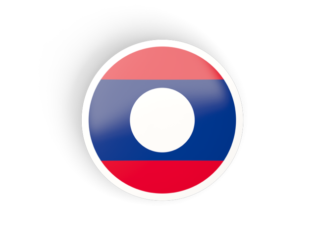 Laos flag png. Round concave icon illustration