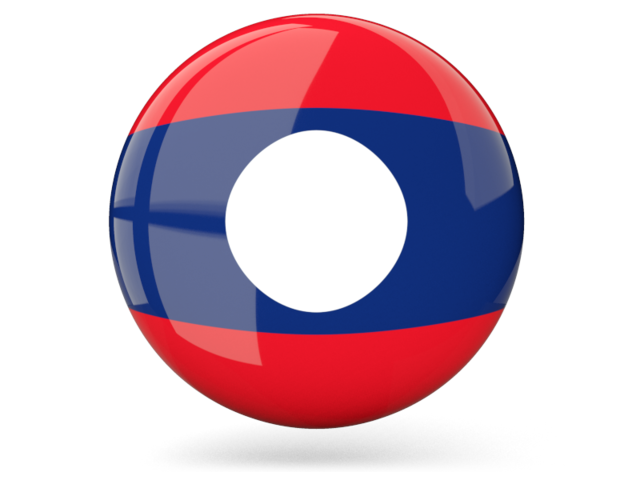 Laos flag png. Glossy round icon illustration