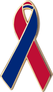 Lapel clip blue. Red and awareness ribbons