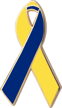 Lapel clip blue. Yellow and awareness ribbons