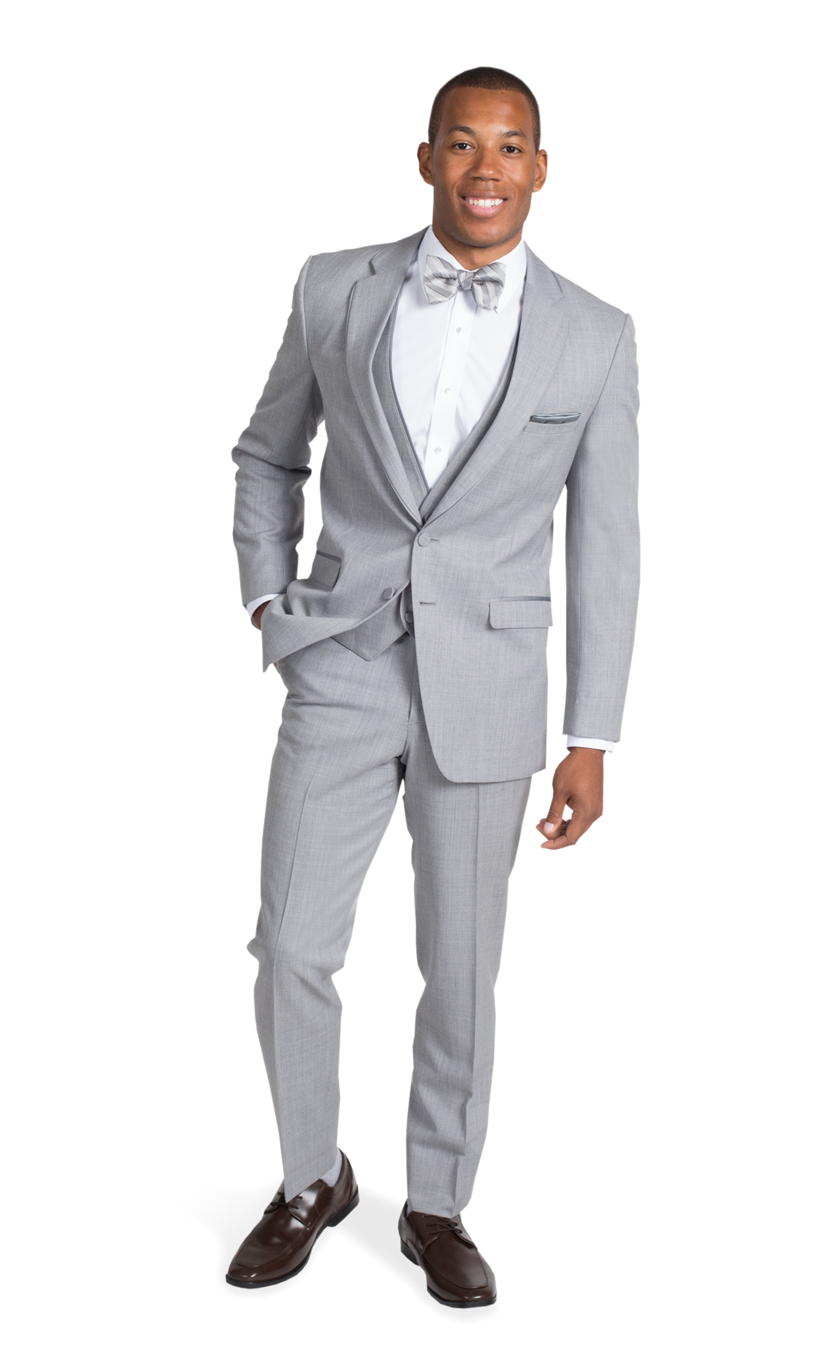 Lapel clip charcoal suit. Heather gray by allure