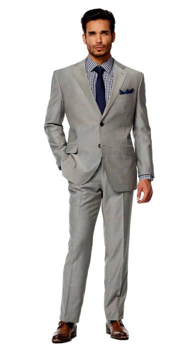 Lapel clip grey suit. Best color tie with