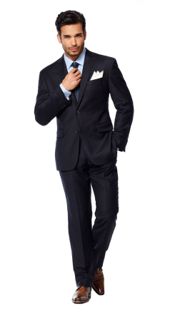 Lapel clip three piece suit. Solid navy blue by