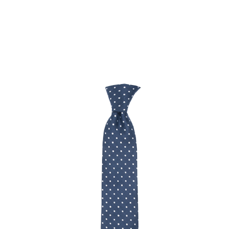 Lapel clip tie bar. Navy dotted dots men