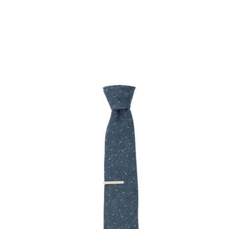 Lapel clip tie bar. Slate blue redwood dot