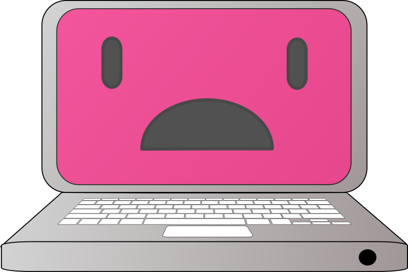 Laptop clipart pink laptop. Sad medium image png