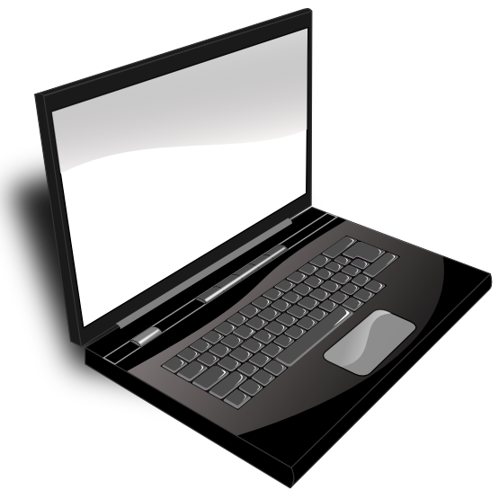 Laptop clipart png format. Black and white transparent