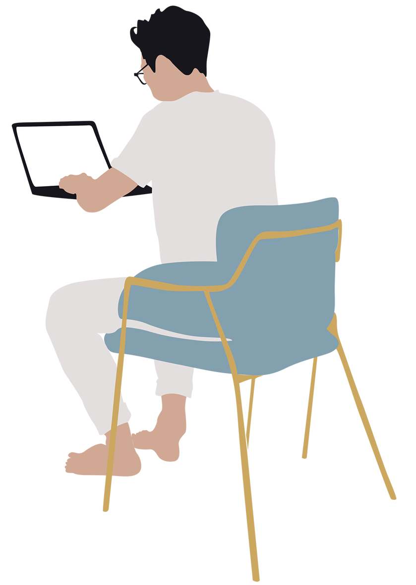 Scale figure silhouette png. Man working on laptop