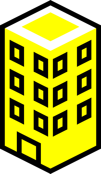 Large clip office. Building yellow art at