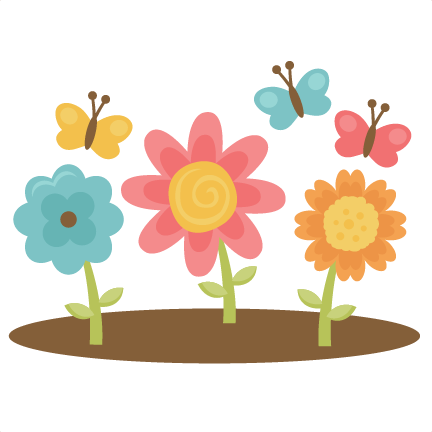 Large clip spring. Flowers with butterflies svg
