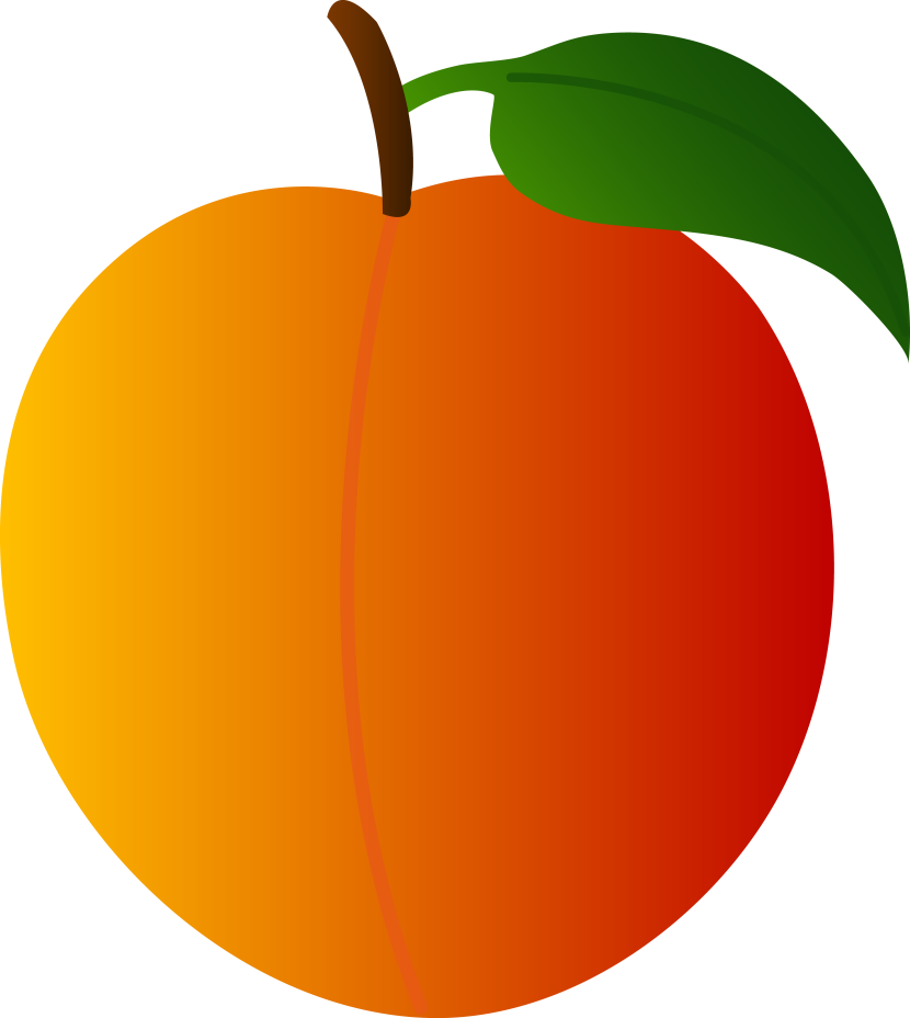 Big peach. Large cute fruit clipart