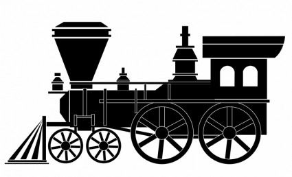 Large locomotive. Collection of train clipart