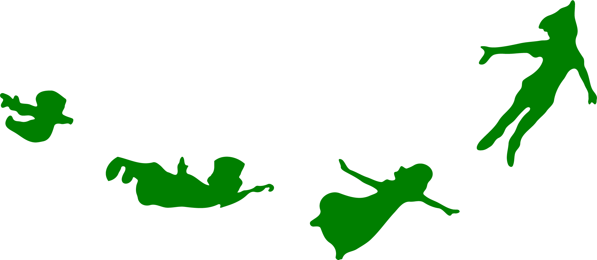 Large png of wendy michael tinker bell and peter pan flying. Silhouette printable at getdrawings
