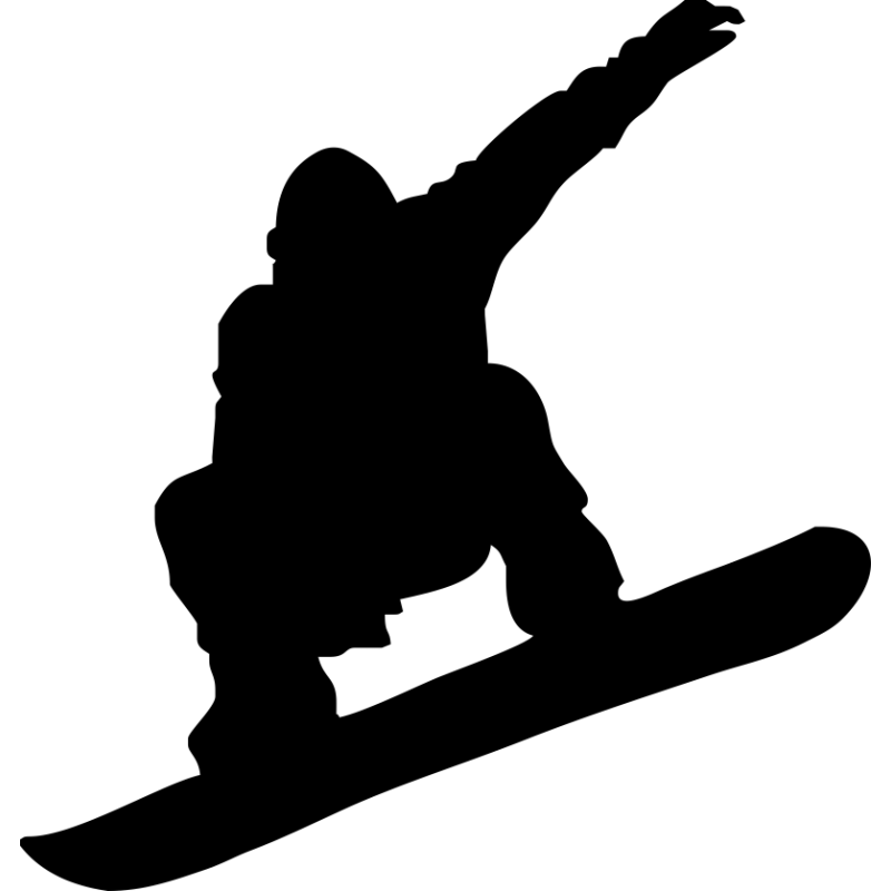 Large snowboard. Snowboarding skiing silhouette clip