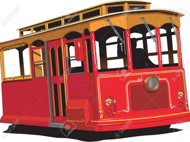 Large tram. Drawing free download best