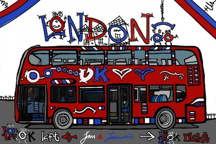 Large trolleybus. Travel london poster enchanted